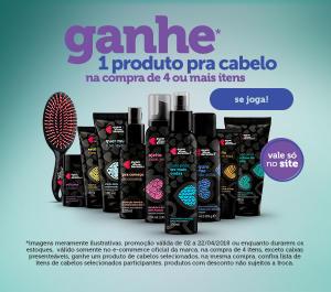 Na compra de 4 produtos, leve um para cabelo de brinde