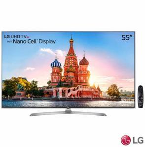 "Smart TV 4K LG LED 55"" Nano Cell, webOS 3.5, Controle Smart Magic - 55UJ7500 - R$ 3689"