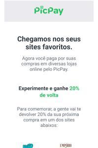 CASHBACK DE 20% NO PICPAY