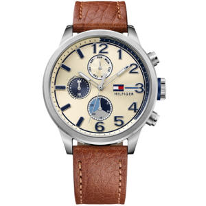 Relógio tommy hilfiger masculino couro marrom - 1791239 - R$455