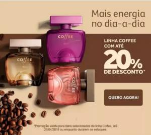 Linha Coffee com desconto de até 20% no Boticário - R$17,90