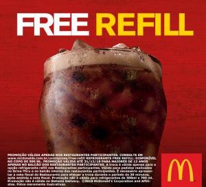 Free Refil no Mc Donalds . Veja os Restaurantes participantes!