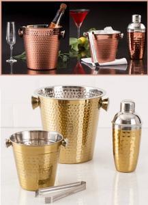 Kit Bar Copper/Gold em Aço Inox La Cuisine: Balde de Gelo 1,2L 14cm com pegador + Coqueteleira 500ml + Balde para Champagne/Vinho 4,5L 22cm R$71,99