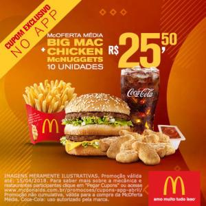 McOferta Média Big Mac + Chicken McNuggets 10 unidades no McDonald's - R$25,90