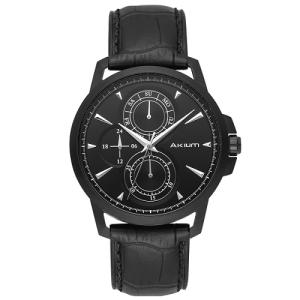 Relógio akium masculino couro preto - black-03c63gl02 - R$332