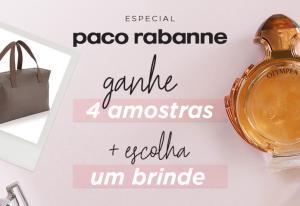 Leve 4 amostras + uma bolsa em compras acima de R$299 em Paco Rabanne