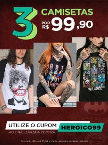 3 camisetas DC Comics por R$99,90