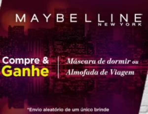 Compre um produto Maybelline e ganhe almofada de viagem ou máscara de dormir