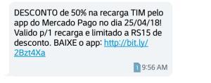 50% OFF em recarga TIM no Mercado Pago (em 25/04/2018)