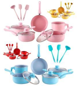 Conjunto de Panelas Everyday Azul 5 Peças La Cuisine + Conjunto de Utensílios de Silicone 3 Peças Azul - La Cuisine