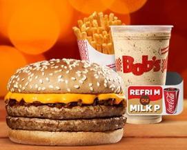 Cheddar M + Batata M + Milk P ou Refri M no Bob's por R$13,50