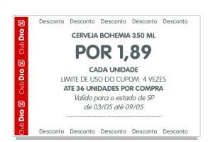 Cerveja Bohemia R$1,89 pelo app Clube Dia