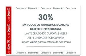 Gillette e Prestobarba com 30% em todos aparelhos e cargas pelo APP Club Dia