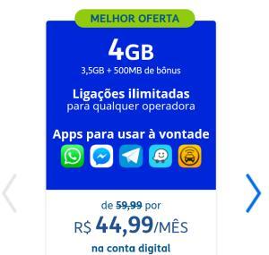 TIM Controle 4GB por 44,90* + apps ilimitados + Deezer + ligações p/ qualquer operadora