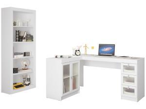 Conjunto Itapevi 2 Portas 3 Gavetas Politorno - com Mesa para Computador/Escrivaninha e Estante - R$570