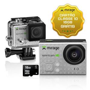 """Câmera de Ação Sport HD Mirage 5MP Tela LCD 2"""" + Cartão 16GB Prata - R$74,50"""