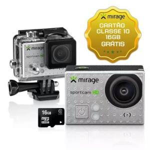 """Câmera de Ação Sport HD Mirage 5MP Tela LCD 2"""" + Cartão 16GB Prata r$ 74,50"""