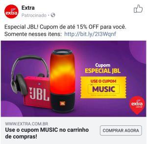 15% OFF em produtos selecionados JBL no Extra