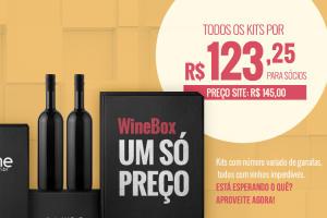 Wine Box a preço único - R$123,25 (sócios) e R$145 (geral)
