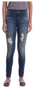 Calça Jeans Skinny Azul Escuro Com Detalhes Puido  36, 40, 42 e 44 - R$ 14