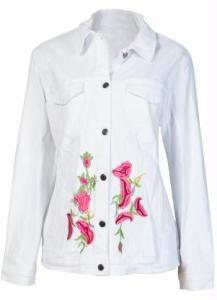 Jaqueta Jeans com Bordado Branco R$80