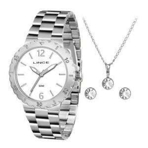 Kit Relógio Feminino Analógico Lince, Pulseira de Aço Prata,  Caixa de  3,8 cm, Resistência a Água 30 Metros + Colar e Brincos  por R$ 105