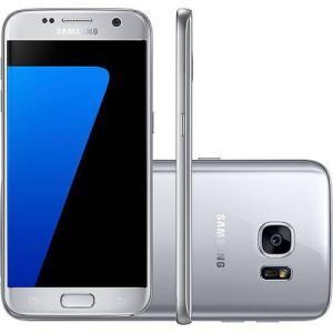 "Smartphone Samsung Galaxy S7 Desbloqueado Tim Android 6.0 Tela 5.1"" Octa-Core 2.3GHz + 1.6GHz 32GB 4G Câmera 12MP - Prata"