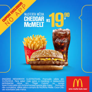 McOferta Média Cheddar McMelt no McDonald's - R$19,90