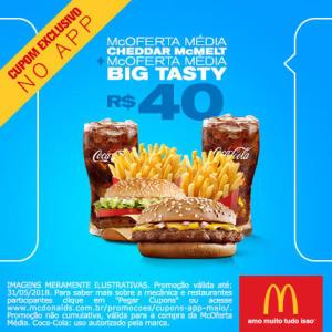 McOferta Média Cheddar McMelt + McOferta Média Big Tasty no McDonald's - R$40