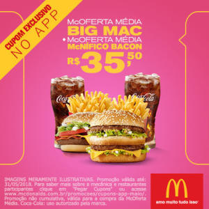 McOferta Média Big Mac + McOferta Média McNífico Bacon no McDonald's - R$35,50