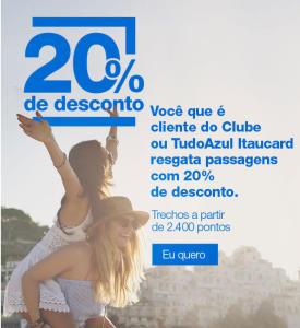 20% OFF no resgate de passagens com milhas na Azul