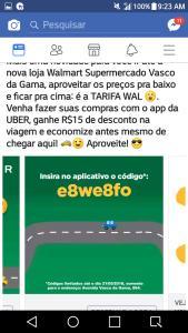 Desconto de 15 reais da uber Salvador para Walmart Vasco da Gama e barra