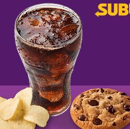 [RS] Complemento de Refri 300ml + 1 cookie + 1 chips no Subway - R$8,50