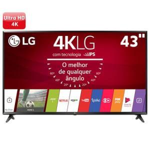 "Smart TV LED 43"" Ultra HD 4K LG 43UJ6300, WebOS 3.5, Painel IPS, HDR - R$ 1799"