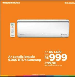 [Loja Fisica] Ar condicionado Samsung inverter, 9000 BTUs. por R$ 999
