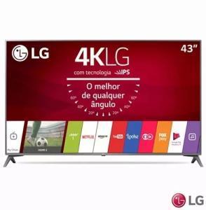 "Smart TV LED 43"" LG 4K/Ultra HD 43UJ6565 webOS - Conversor Digital 2 USB 4 HDMI - R$ 1926"