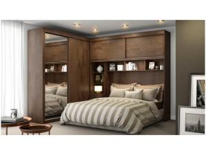Guarda-roupa Casal 4 Portas de Correr 5 Gavetas - Móveis Europa Milão 12.033 com Espelho - R$1600