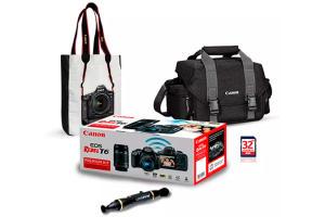 Combo Canon EOS Rebel T6 Premium Kit + Bolsa + Sacola + Caneta Limpadora de Lentes + Cartão de Memória 32GB - R$2302