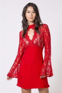 Vestido Más Animale - Renda Fluido Vermelho ou Preto - R$125