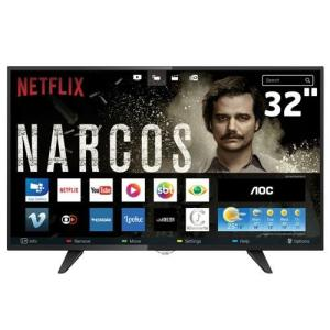 "Smart TV LED 32"" HD AOC - BOTÃO NETFLIX"