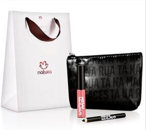 Kit básico presente Natura - Batom+Lápis+Necessárie - R$ 39