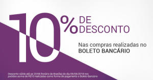 10% OFF em pagamentos por boleto nas Lojas Rede