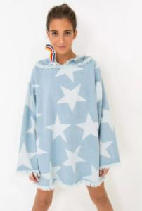 Vestido Farm - Capuz jeans estrelas - R$122,15