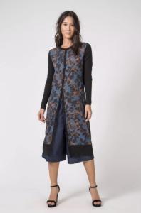Cardigan Más tricot longuete rabisco azul - R$143,40