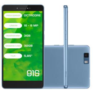 "Smartphone Mirage 91S, 4G Android 6.0 Octa Core 32GB Câmera 16MP Tela 5.8"", Azul por R$484"