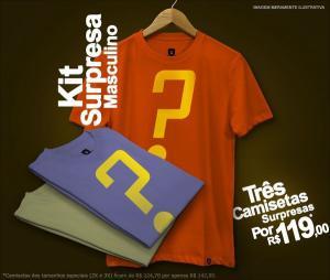 Trio de camisetas surpresas masculinas por R$119,00 na REDBUG