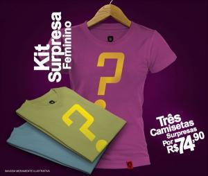 Trio de camisetas surpresas femininas a partir de R$67,41 na REDBUG