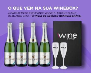 WineBox Veuve D`Argent + 2 Taças - R$130,11
