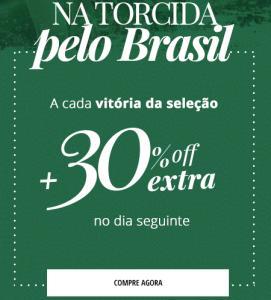 30% OFF no dia seguinte a cada vitória do Brasil na Copa