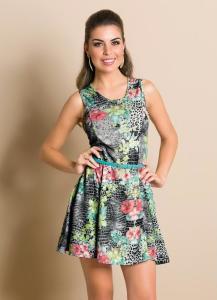 Vestido evasê estampado R$14,99
